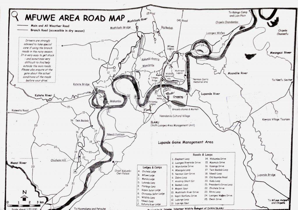 South Luangwa Nationalpark - Karte