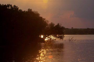 Sonnenuntergang über dem Sambesi in Livingstone