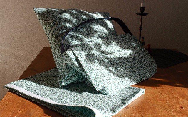 Vorhang, Kissenbezug und Sackerl für das Reisemobil