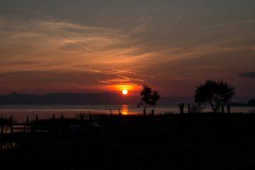 Sonnenuntergang am Skutarisee, Albanien