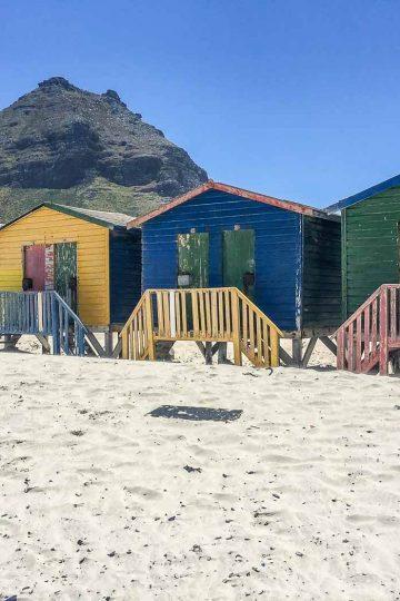 Bunte Badehäuschen am Muizenberg Strand